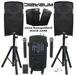 "MUSYSIC M-Port PA2K 2000W Portable PA System 2x10"" Speakers"