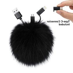 Kisreal Pom Pom Keychain Charging Cable Compatible with iPho