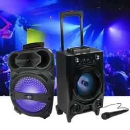 Portable BT Party DJ Tailgate Speaker LED Lights Rechargeabl