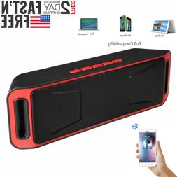 Red Portable Wireless Bluetooth Speaker Rechargeable+Call,FM