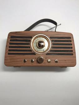 RETRO FM RADIO WIRELESS SPEAKER, WOOD LOOK, LEATHER HANDLE,