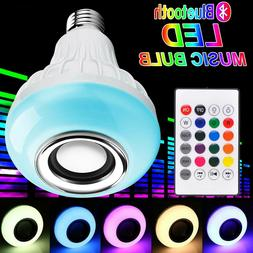 rgb led wireless bluetooth speaker e27 light