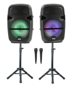 QFX Twin 8-in Bluetooth Wireless Stereo Speaker Bundle With