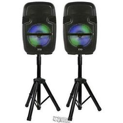 """QFX- Twin 8"""" True Wireless Speaker Set with Stands & Two Mic"""