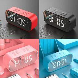 Wireless Bluetooth Speaker Alarm Clock Desk Mirror LED Radio