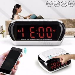 Wireless LED Digital Bluetooth Speaker FM Alarm Clock Radio
