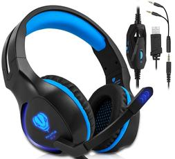 Xbox One, PS4 Gaming Headset , Headphones with Mic and LED L
